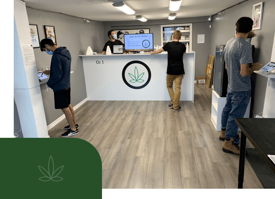 Socially distanced customers exploring their options for cannabis products