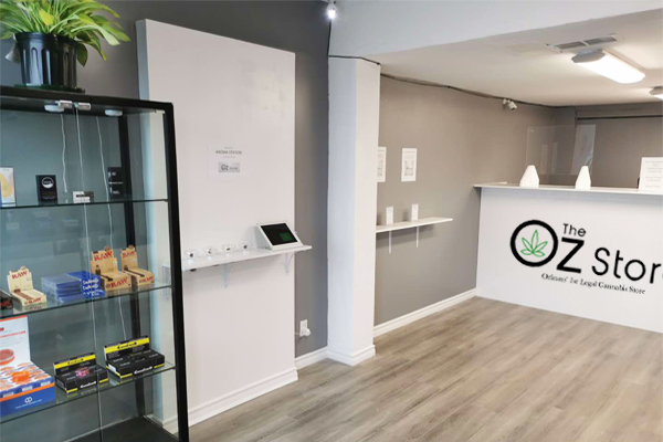 Display case of cannabis products inside the Oz store