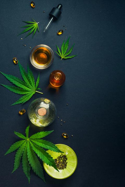 CBD vs. THC - a variety of CBD products on display